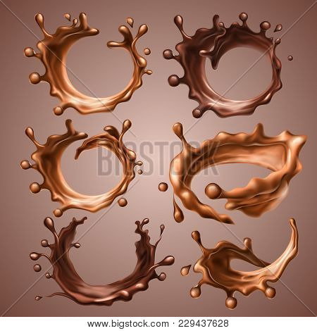 Set Of Realistic Splashes And Drops Of Melted Milk And Dark Chocolate. Dynamic Circle Splashes Of Wh