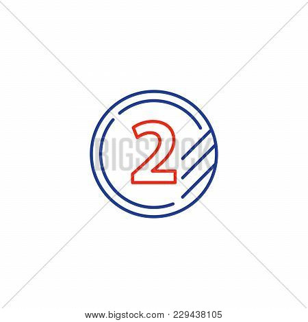 Token With Number Two, Second Level, Upgrade Concept, Round Classification Mono Line Vector Icon