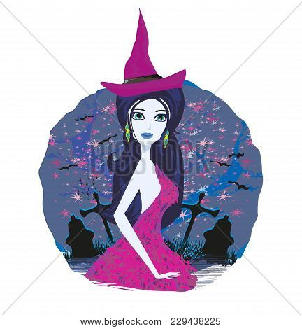Young Witch On Cemetery Card , Vector Illustration