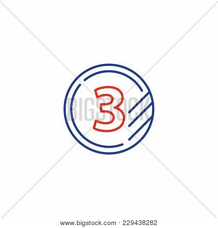 Token With Number Three, Third Level, Upgrade Concept, Round Classification Mono Line Vector Icon
