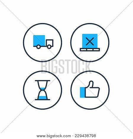 Delivery Truck Icon, Boxes On Pallet Symbol, Sand Glass Fast Time Sign, Like And Satisfaction Thumb
