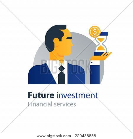 Business And Finance People And Banking Services, Future Investment. Flat Design Vector Illustration