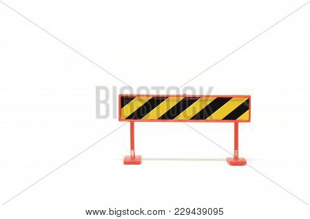 Road Closed Barricade Isolated On White Background Ideal For Maintenance And Construction Concept