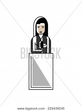 Asian Businesswoman Speech On Tribune. Corporate Business People Isolated Illustration In Linear Sty