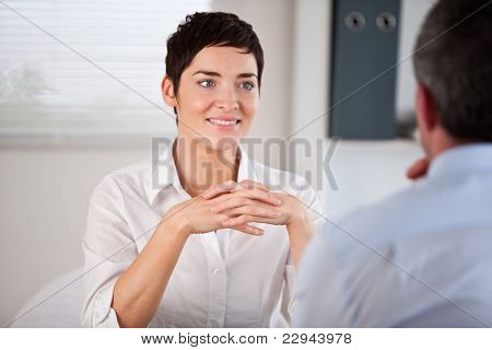 Candidate Listening To Her Future Manager
