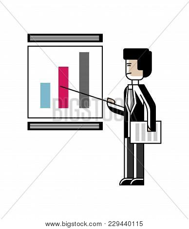 Asian Speaker Doing Business Presentation With Financial Diagram On Whiteboard. Corporate Business P
