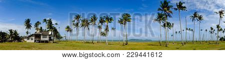 Beautiful Panorama, Fisherman Village Located At Terengganu, Malaysia At Sunny Day With Blue Sky Bac