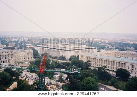 James Madison Memorial Building And Cannon House Office Building Aerial Elevated View As Seen From T