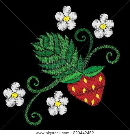 Embroidery Stitches Imitation Strawberry With Flower Ornament. Pattern For Embroidery With Strawberr