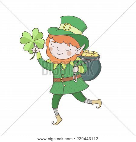 Cute Young Leprechaun In Green Clothes With A Pot Of Golden Coins And Clower Leaf. Saint Patrick S D