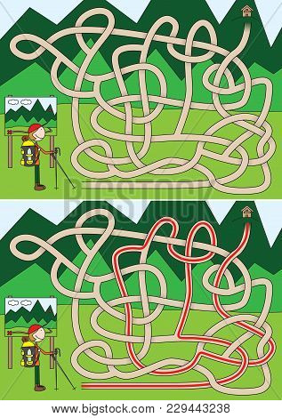 Mountaineer Maze For Kids With A Solution