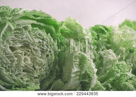 Fresh Chopped Peking Cabbage. Green Juicy Salad.