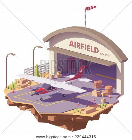 Vector Low Poly Airfield With Hangar And Small Propeller Airplane
