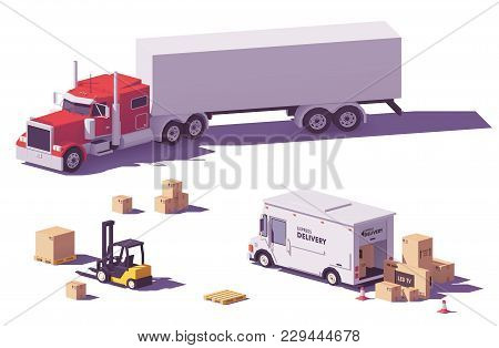 Vector Low Poly Heavy American Classic Semi Truck With Semi Trailer, Stepvan And Forklift