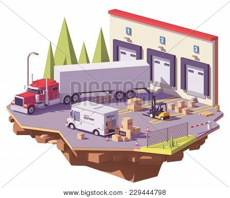 Vector Low Poly Warehouse With Trucks, Forklifts And Goods