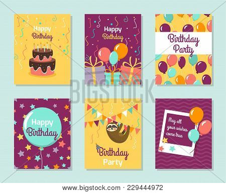 Happy Birthday Collection Greeting Templates. Invitation Cards To The Party. Vector Banners With Cak