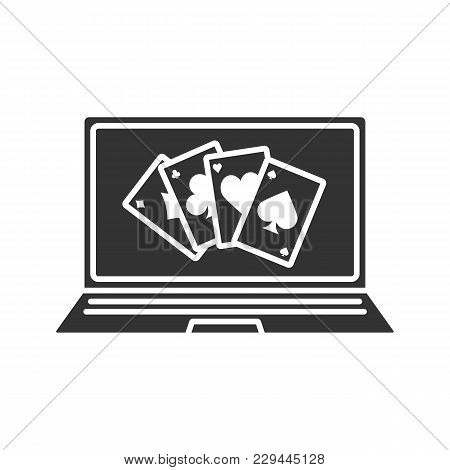 Online Casino Glyph Icon. Laptop Display With Four Aces. Silhouette Symbol. Negative Space. Vector I