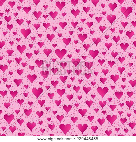 Abstract Seamless Pattern Of Bright Pink Hearts On Light Pink Backdrop. Continuous Romantic Backgrou