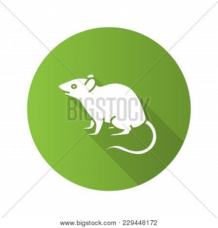Mouse, Rat Flat Design Long Shadow Glyph Icon. Rodent. Pest. Vector Silhouette Illustration