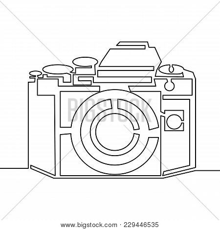 One Line Drawing Of Camera. Black Vector Image Isolated On White Background.