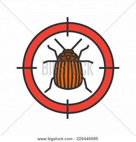 Colorado beetle target color icon. Potato bug repellent. Pest control. Isolated vector illustration poster