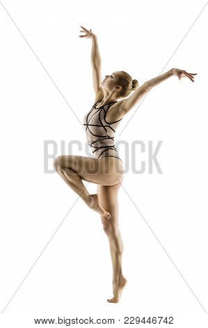 Gymnast Dancer, Woman Gymnastics Dancing Sport Dance, Young Girl In Leotard Isolated On White Backgr