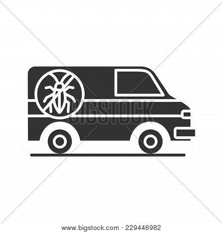 Exterminator Mini Bus Car Glyph Icon. Pest Control Service. Silhouette Symbol. Negative Space. Vecto