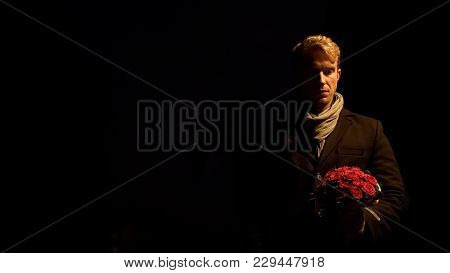 Upset Man Holding Flowers, Waiting In Vain For Girlfriend, Relationship Crisis, Stock Footage
