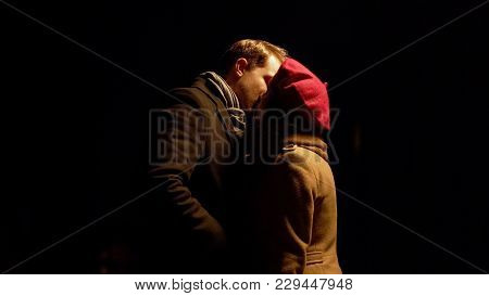 Man And Woman Kissing Outdoors After Night Date, Romantic Relationship, Love, Stock Footage