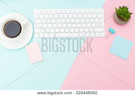 Desktop With Computer Keyboard And Succulent. Pastel Colored