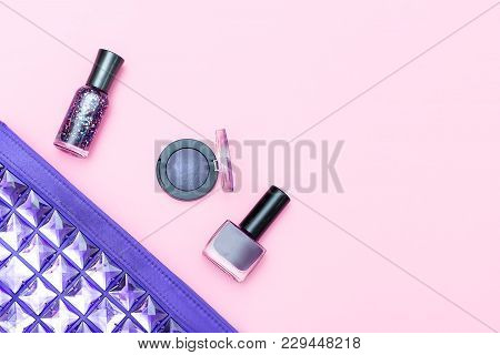 Cosmetic Of Ultraviolet Color And Cosmetics On A Pink Background. Copy Space