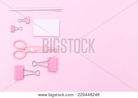 Pink Stationery On A Pink Background. Geometric Style