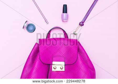 Handbag Of Brightly Pink Color And Accessories On A Pink Background. Flat Lay