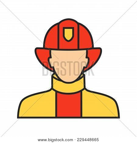 Firefighter Color Icon. Fireman. Dangerous Profession. Isolated Vector Illustration