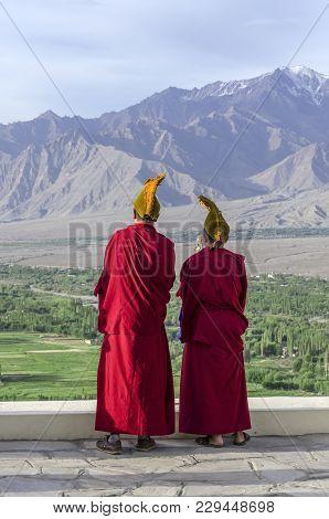 Buddhist Monks At The Hemis Monastery, A Tibetan Buddhist Monastery (gompa).