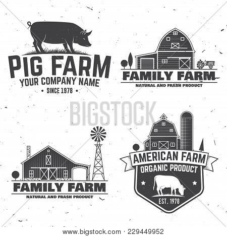 American Farm Badge Or Label. Vector Illustration. Vintage Typography Design With Cow, Pig And Farm