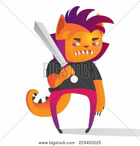 Vector Illustration With Lovely Cute Monster With Large Sward. Bright Character Design Drawn In Cart