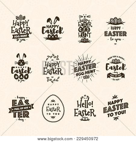 Easter Emblem Set Brown Color Isolated On Background Typography Style For Greeting Card Text Templat