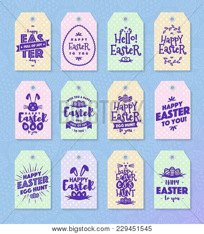 Easter Tag Set Typography Style For Sale, Label, Badges, Party, Greeting Card, Text Templates, Decor