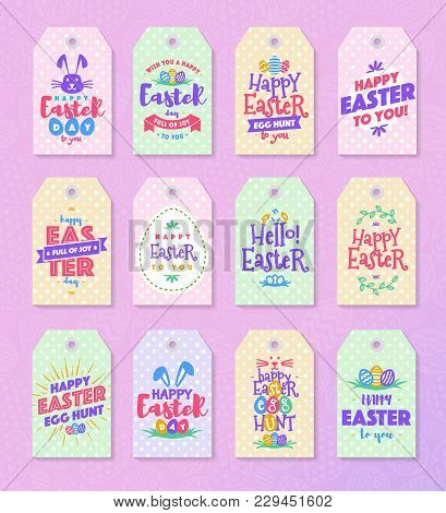 Easter Tag Set Colorfull Typography Style For  Sale, Party, Greeting Card, Text Templates, Label, Ba