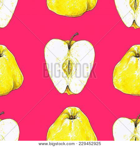 Apples Fruits Are Isolated On A Pink Background. Sketch Felt-tip Pens. Healthy Food. Handwork. Fast