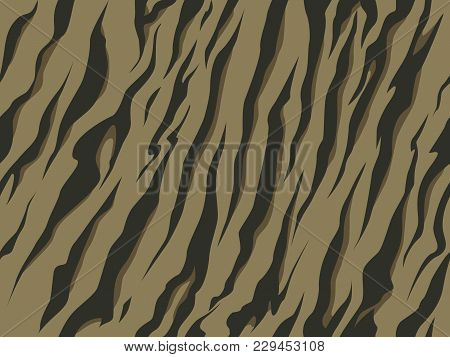 Seamless Military Tiger Stripe Black Khaki Camouflage Print