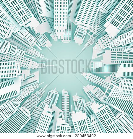 Urban Background. Paper Skyscrapers. Achitectural Building. Modern City Skyline Building Industrial
