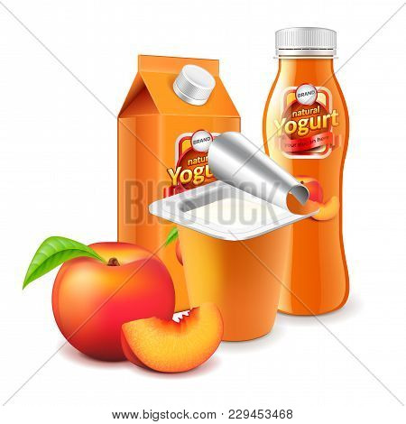 Peach Yogurt Packagings Box Bottle And Cup 3d Photo Realistic Vector