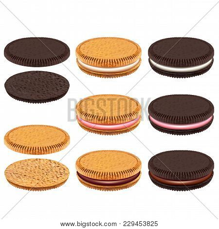 White And Dark Sandwich Cookies With Cream 3d Realistic Vector Set