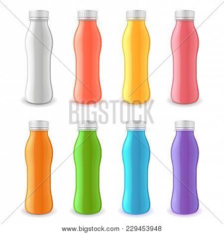 Colorful Yogurt Plastic Bottle 3d Realistic Vector Set