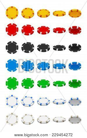 Illustration Of Big Set Of Poker Chips In Different Angles Isolated On White Background