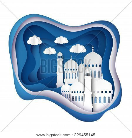 Vector 3d White Paper Mosque. Ramadan Kareem Greeting Card With Arabic Origami Mosque, Waves, Clouds