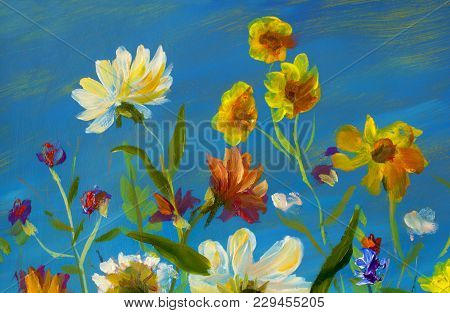 Artwork Handmade Abstract Oil Painting Bright Flowers Floral Landscape. Red, Yellow, Blue, Purple Ab