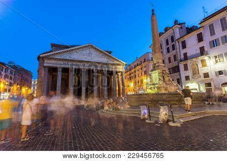 Rome, Italy - June 23, 2017: Amazing Night View Of Pantheon And Piazza Della Rotonda In City Of Rome